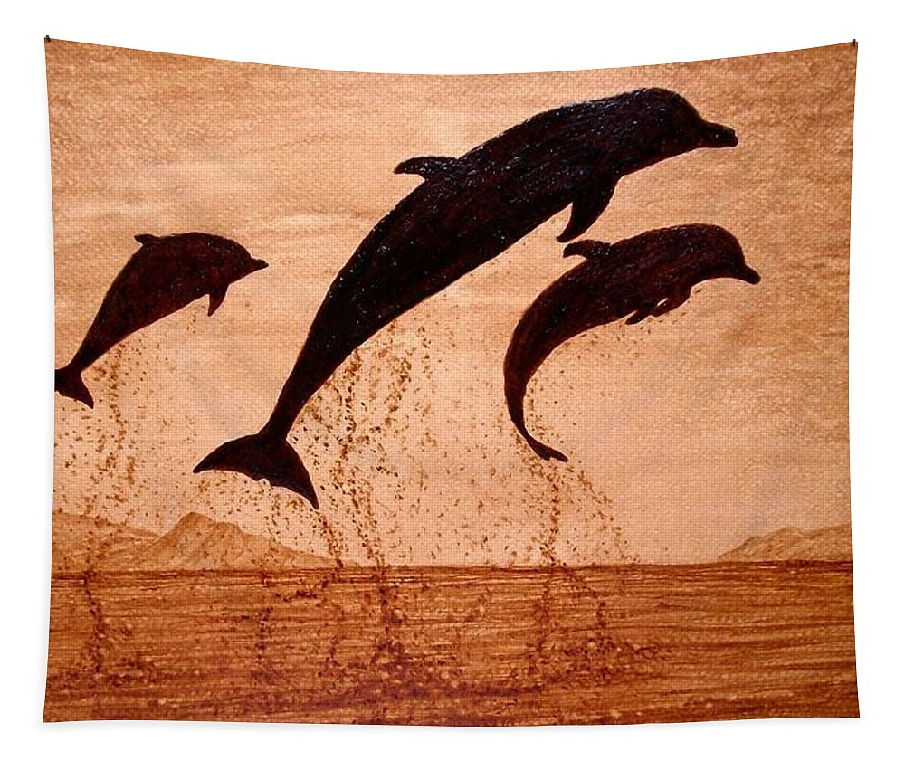 Original Coffee Art Payful Dolphins Tapestry featuring the painting Coffee Painting Dolphins Playing by Georgeta Blanaru