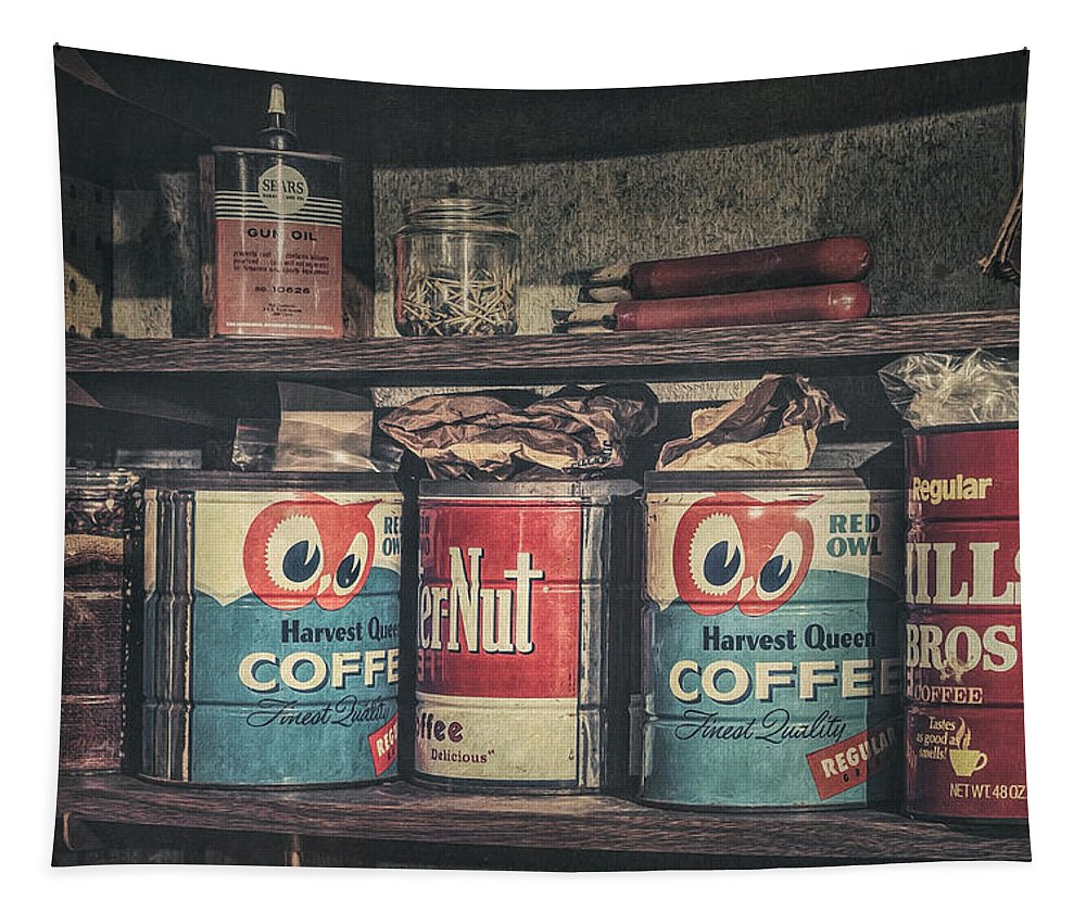 Coffee Tin Tapestry featuring the photograph Coffee Tins All In A Row by Scott Norris