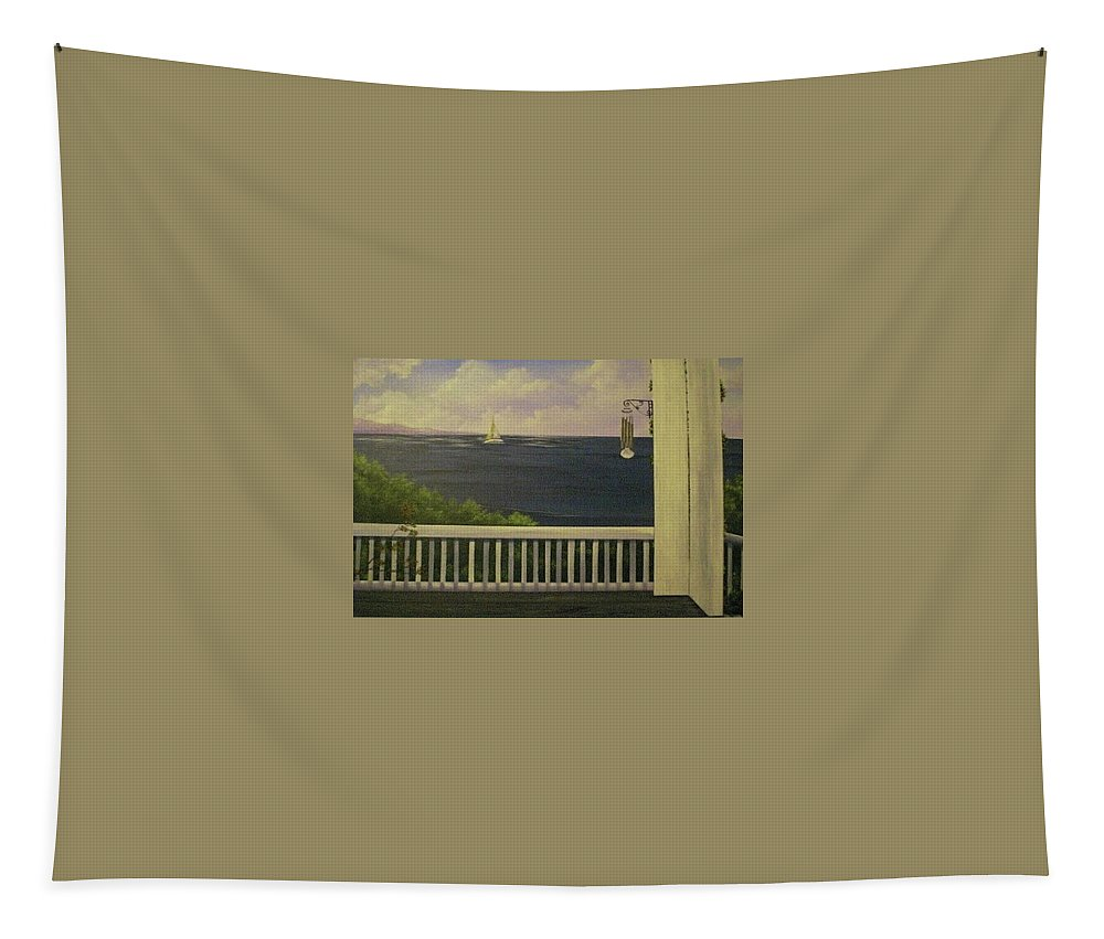 Sailboat Tapestry featuring the painting Coffee With A View by Glen Mcclements