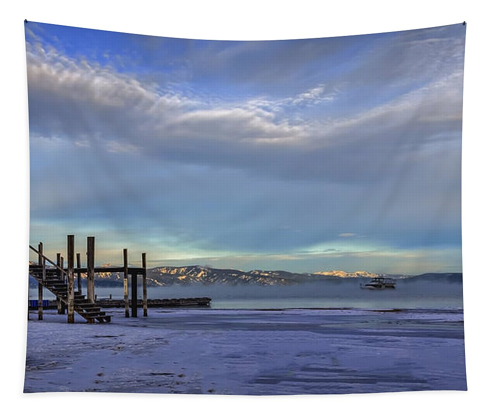 The Morning After Blues Tapestry featuring the photograph Cold Boat Ride by Mitch Shindelbower