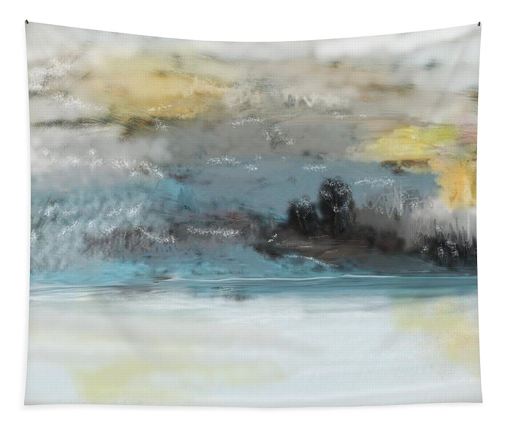 Landscape Tapestry featuring the digital art Cold Day Lakeside Abstract Landscape by David Lane