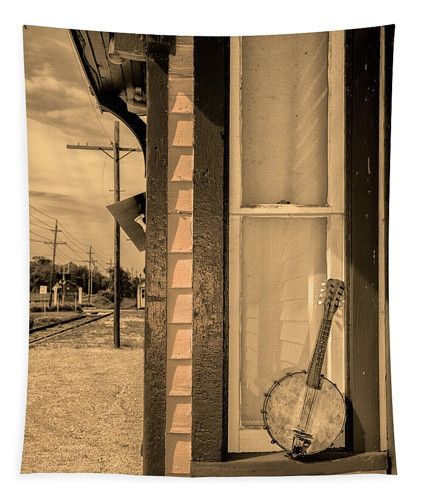 Cold Tapestry featuring the photograph Cold Point Village Station - Banjo Mandolin In Sepia by Bill Cannon