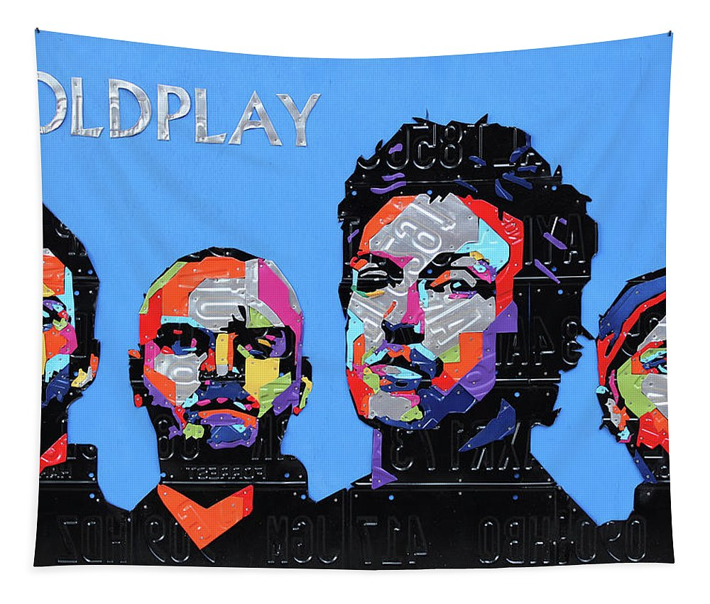 Coldplay Tapestry featuring the mixed media Coldplay Band Portrait Recycled License Plates Art On Blue Wood by Design Turnpike