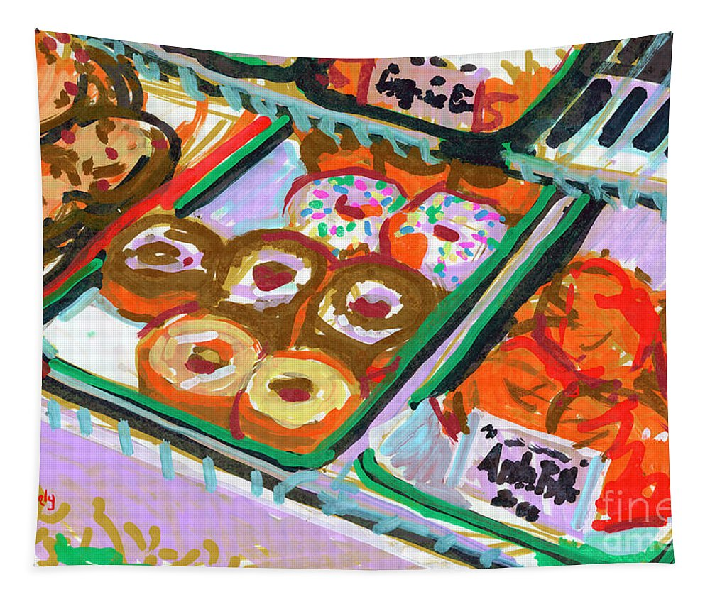Donuts Tapestry featuring the painting Coligny Donuts by Candace Lovely