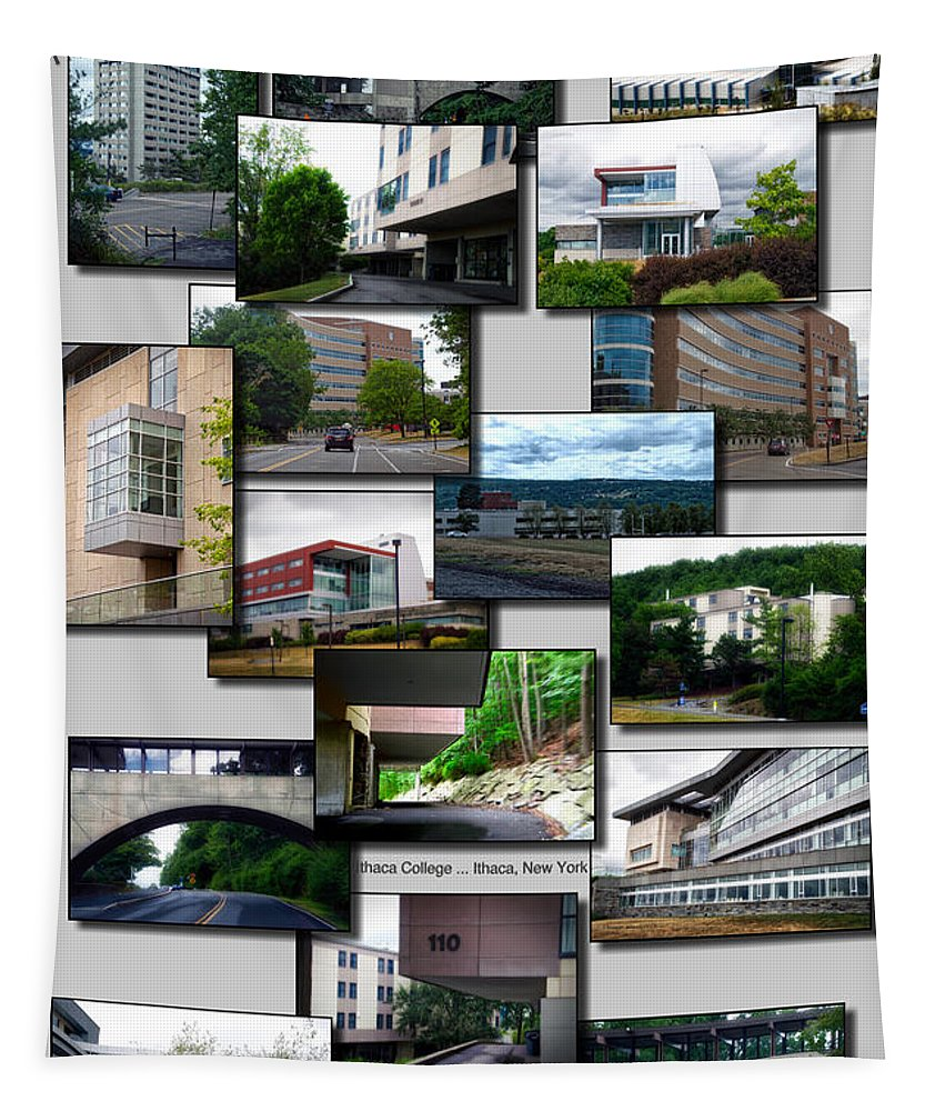 Ithaca College Tapestry featuring the photograph Collage Ithaca College Ithaca New York Vertical by Thomas Woolworth