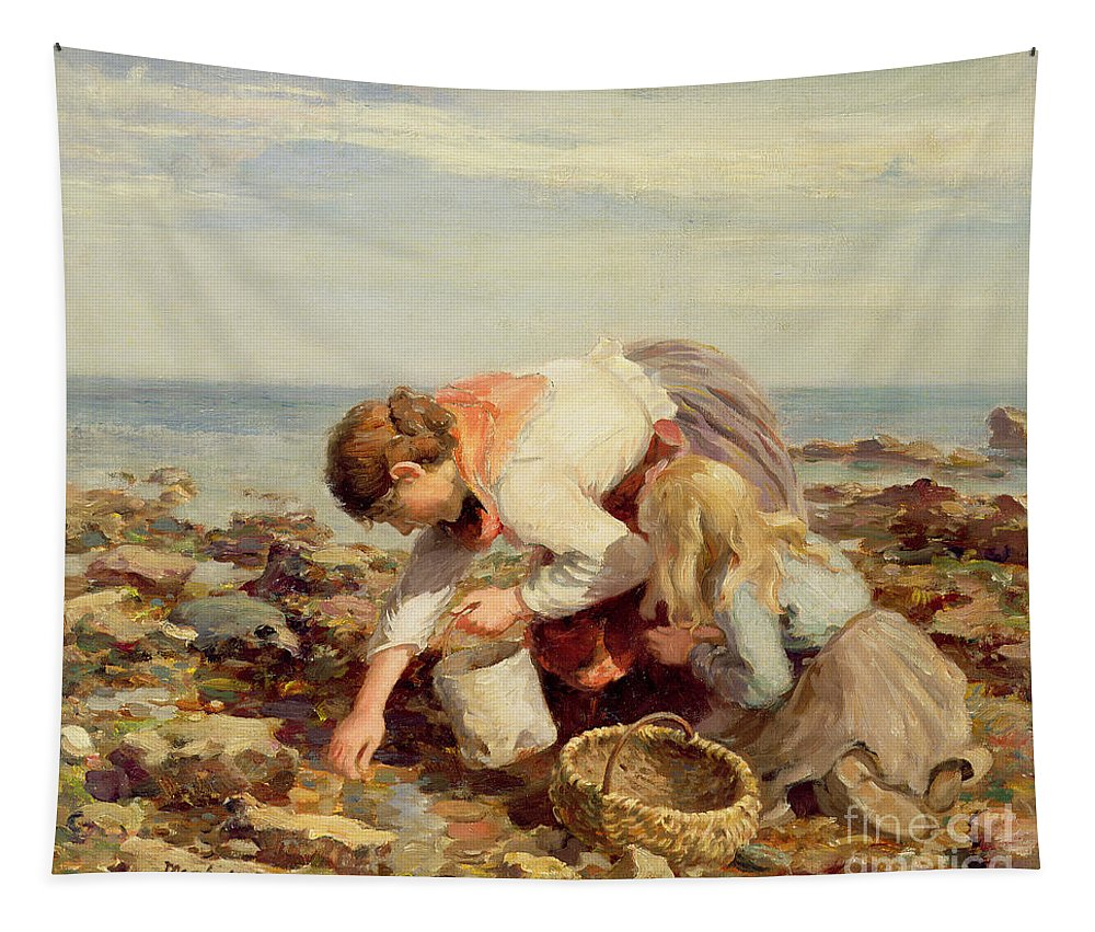 Collecting Tapestry featuring the painting Collecting Shells by William Marshall Brown