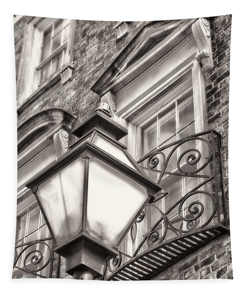 Architecture Tapestry featuring the photograph Colonial Lamp And Window Bw by Jerry Fornarotto