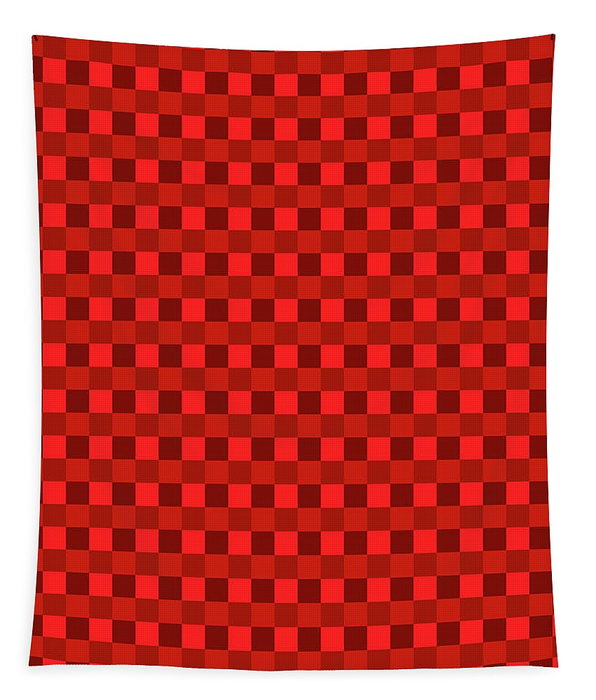 Color Dots On Red Drawing Abstract #7 Tapestry featuring the photograph Color Dots On Red Drawing Abstract #7 by Tom Janca