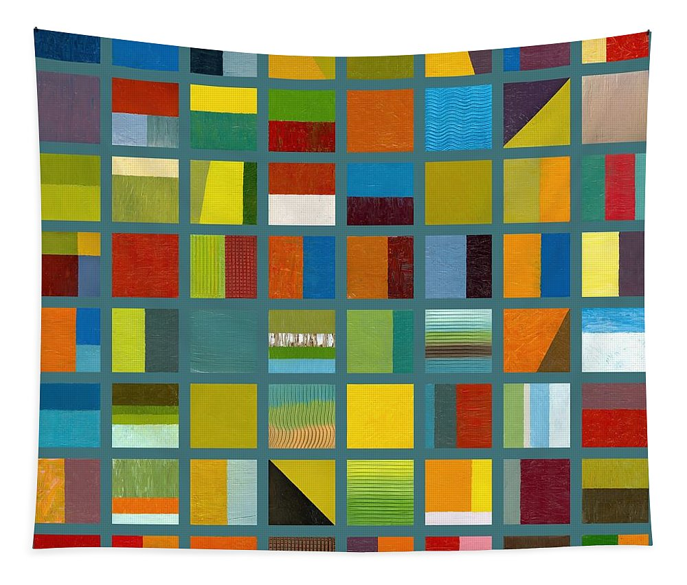Abstract Tapestry featuring the painting Color Study Collage 67 by Michelle Calkins