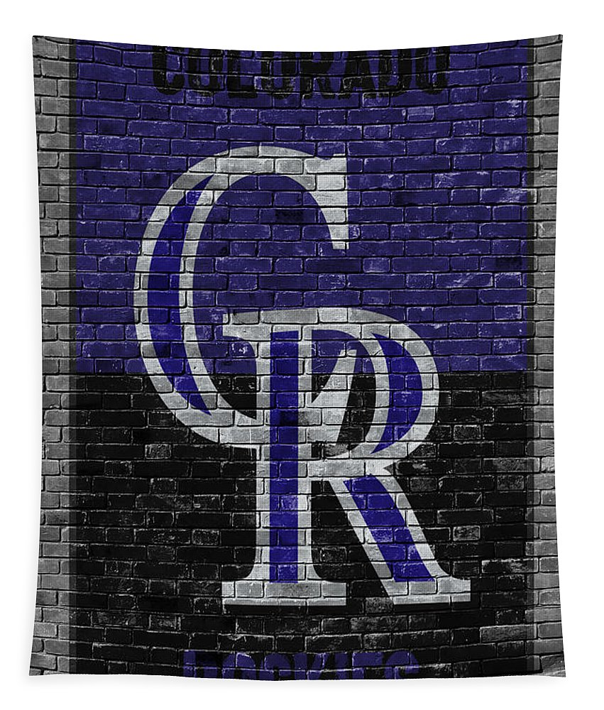 Rockies Tapestry featuring the painting Colorado Rockies Brick Wall by Joe Hamilton