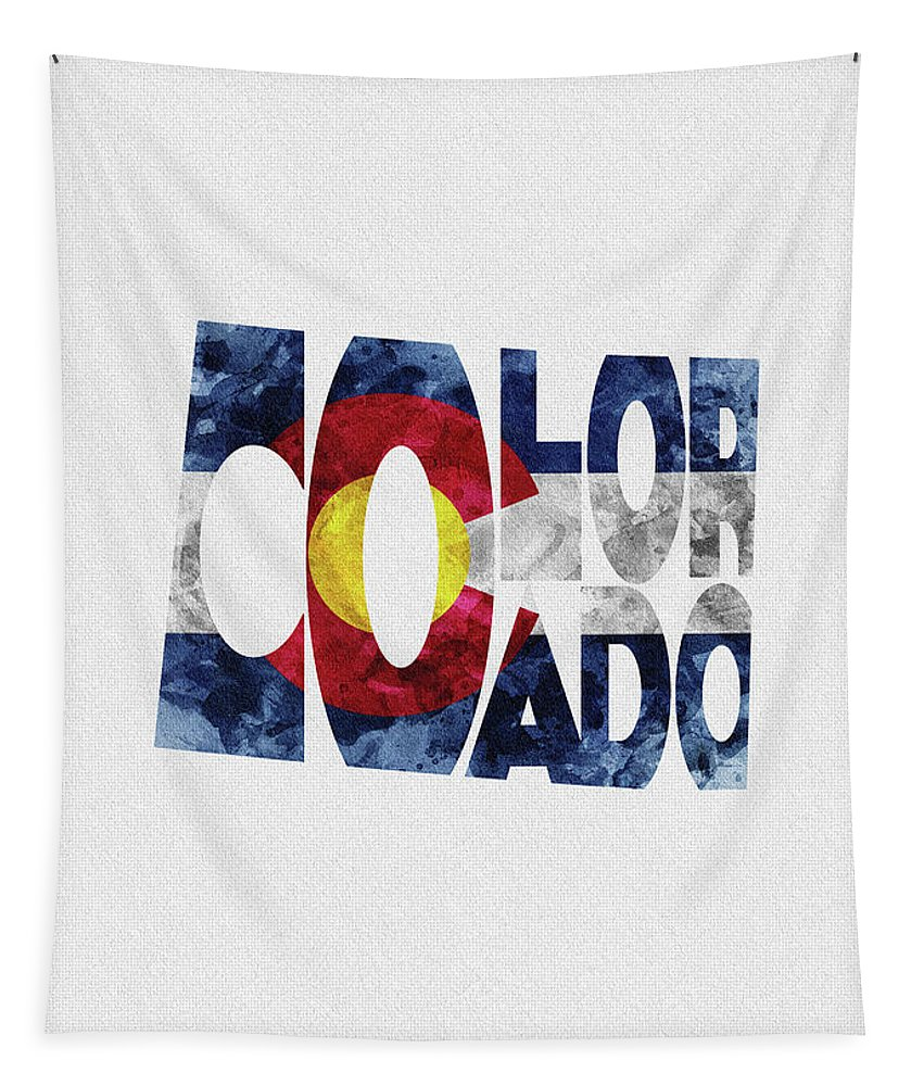 Colorado Tapestry featuring the painting Colorado Typographic Map Flag by Inspirowl Design