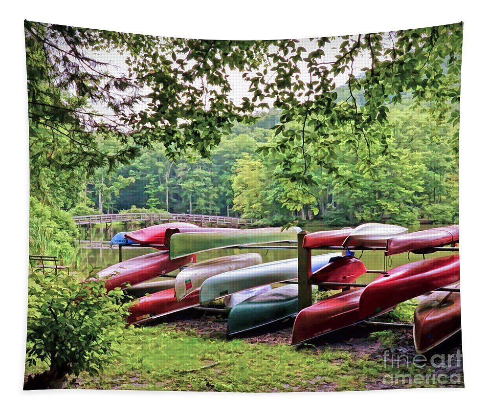 Canoes Tapestry featuring the photograph Colorful Canoes At Hungry Mother State Park by Kerri Farley