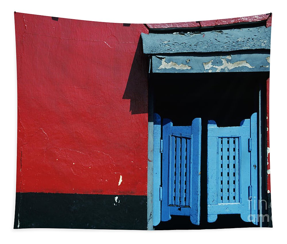 Architecture Tapestry featuring the photograph Colorful Caribbean Door by Larry Dale Gordon - Printscapes