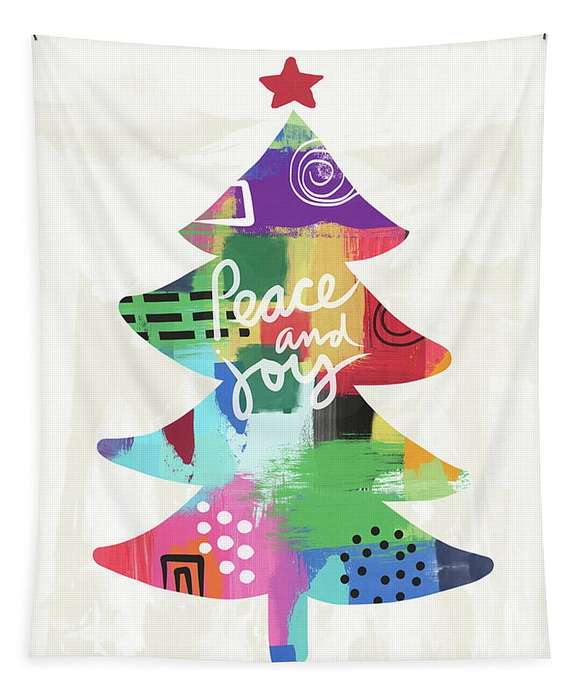 Christmas Tapestry featuring the painting Colorful Christmas Tree- Art By Linda Woods by Linda Woods