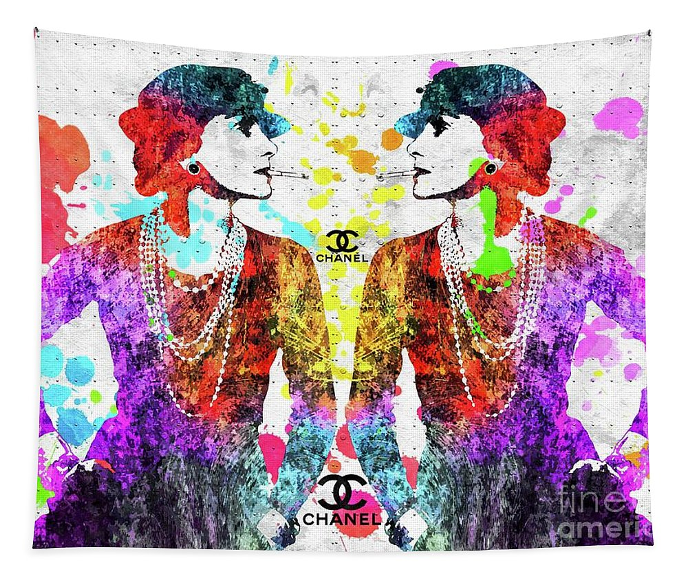 Colorful Coco Chanel Grunge Tapestry featuring the mixed media Colorful Coco Chanel Grunge by Daniel Janda