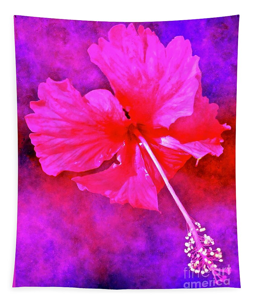 Colorful Cosmic Flower Abstract Tapestry featuring the digital art Colorful Cosmic Flower-hibiscus by Laurie's Intuitive