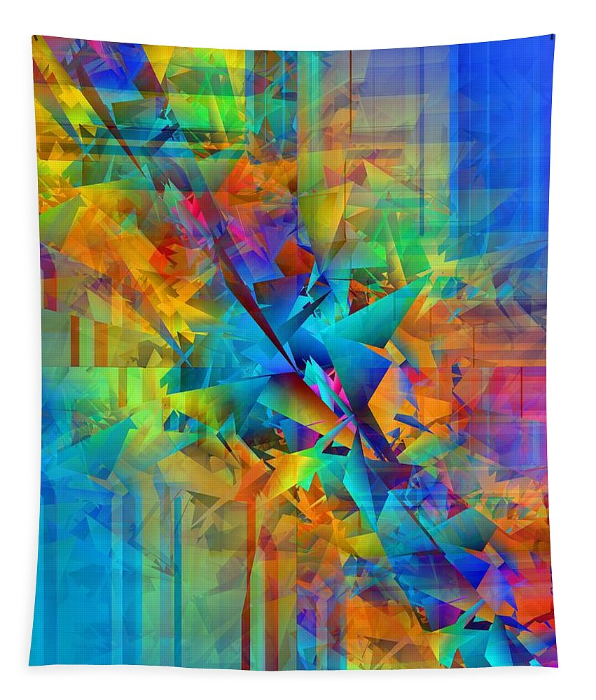 Abstract Tapestry featuring the digital art Colorful Crash 8 by Chris Butler