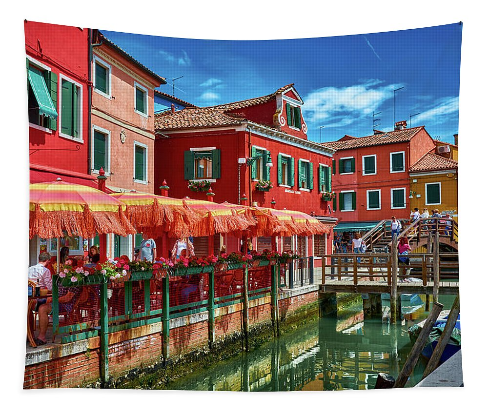 Wall hanging tapestry with image of Burano