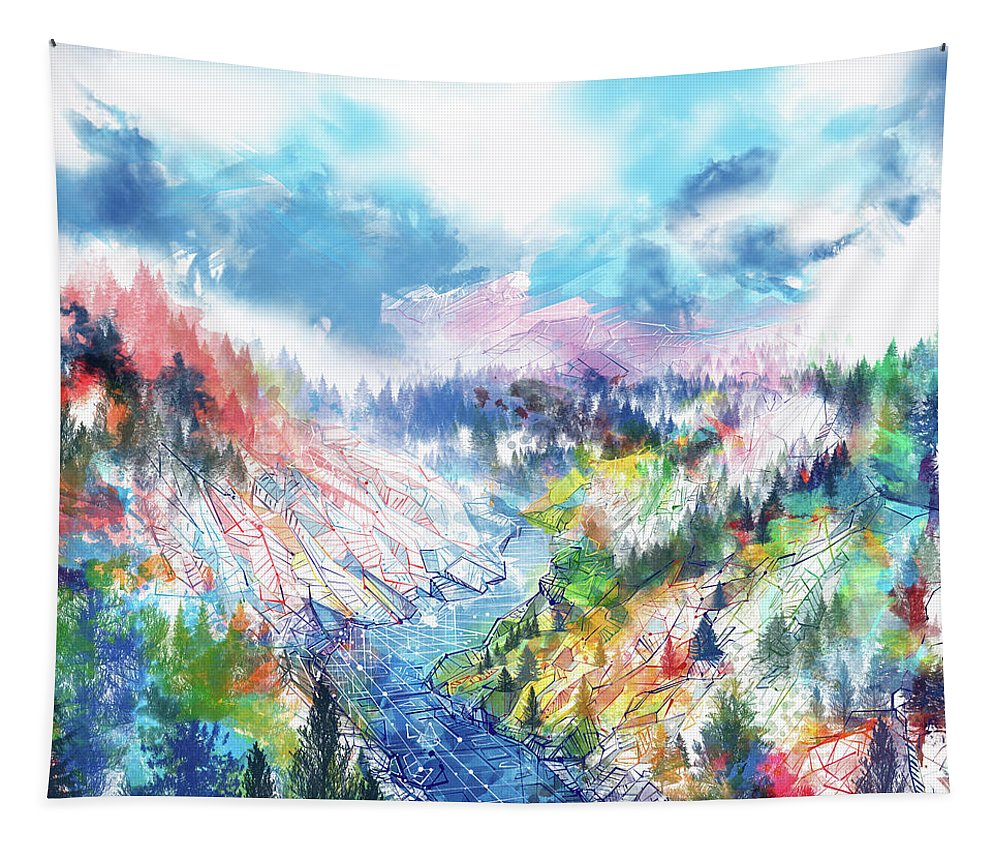 Forest Tapestry featuring the painting Colorful Forest 5 by Bekim Art