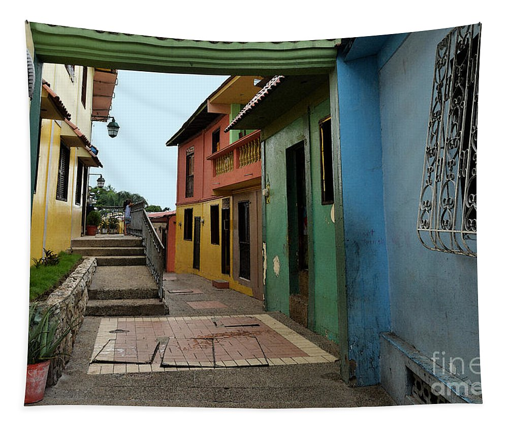 Guayaquil Tapestry featuring the photograph Colorful Guayaquil Alley by Catherine Sherman