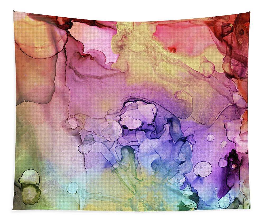 Ink Tapestry featuring the painting Colorful Ink Swirls With Gold Marble by Olga Shvartsur