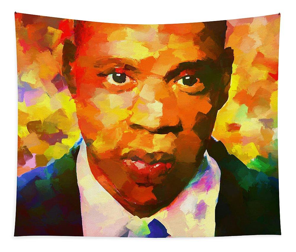 Colorful Jay Z Palette Knife Tapestry featuring the painting Colorful Jay Z Palette Knife by Dan Sproul