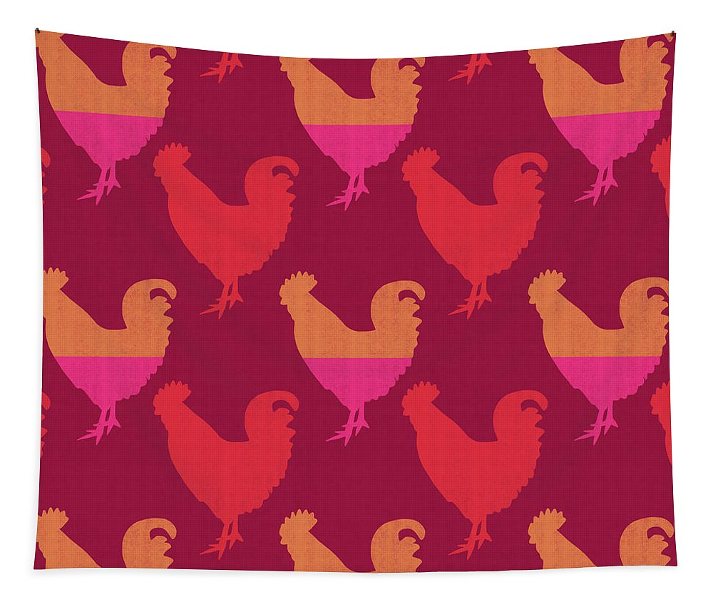 Rooster Tapestry featuring the mixed media Colorful Roosters- Art By Linda Woods by Linda Woods