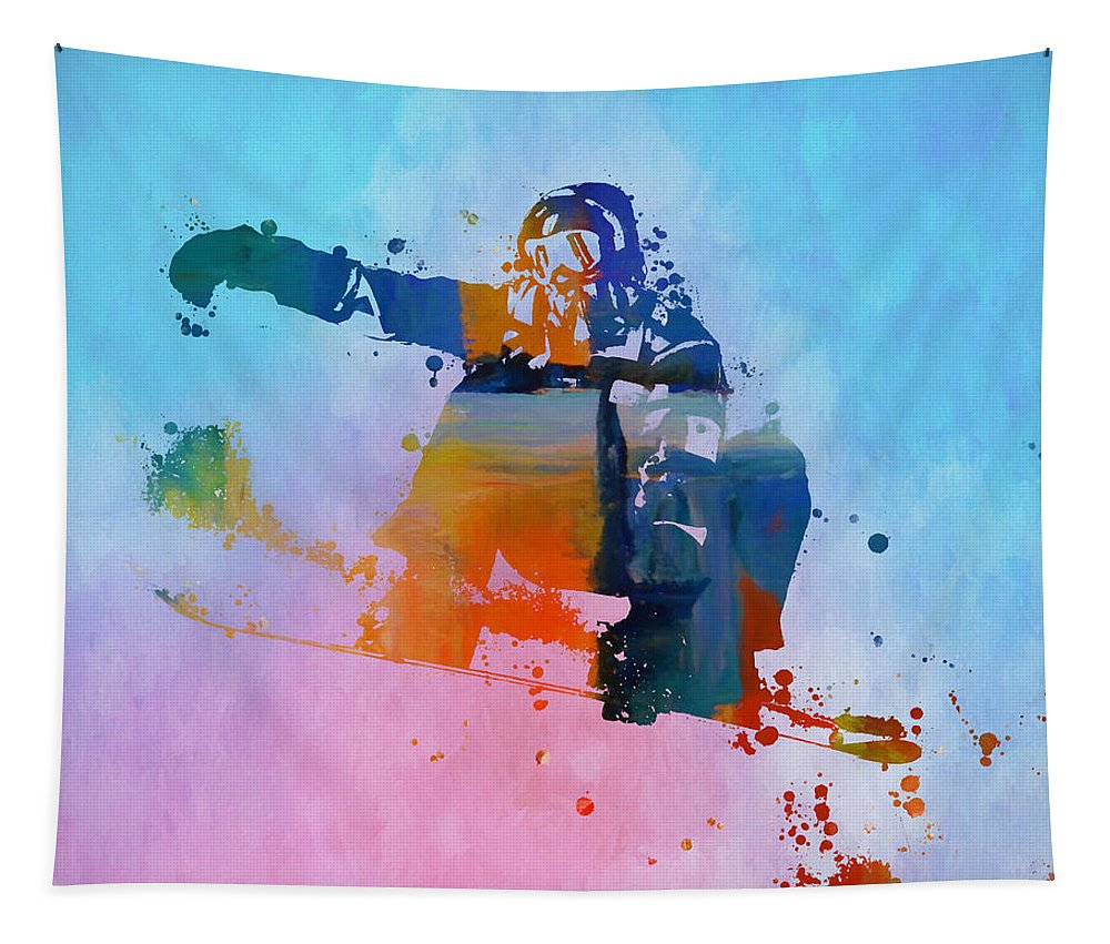 Colorful Snowboarder Paint Splatter Tapestry featuring the painting Colorful Snowboarder Paint Splatter by Dan Sproul