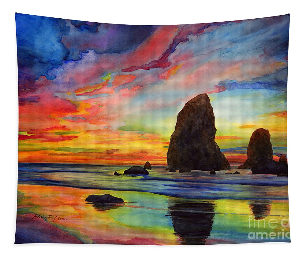 Sunset Tapestry featuring the painting Colorful Solitude by Hailey E Herrera