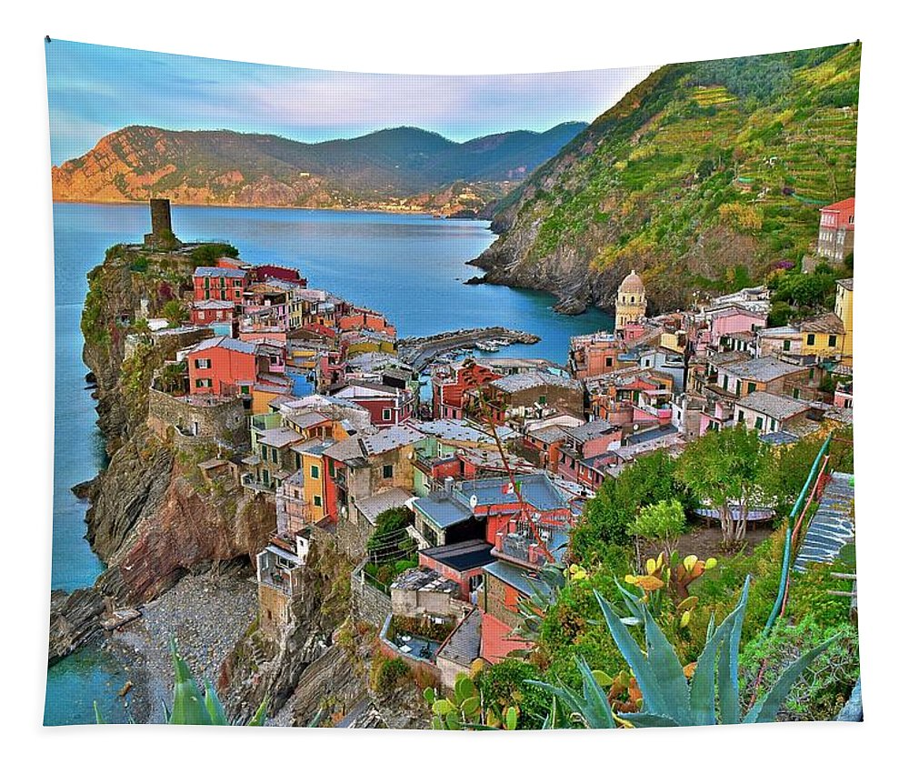 Vernazza Tapestry featuring the photograph Colorful Vernazza From Behind by Frozen in Time Fine Art Photography