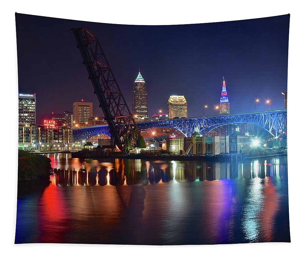 Cleveland Tapestry featuring the photograph Colors On The Water by Frozen in Time Fine Art Photography