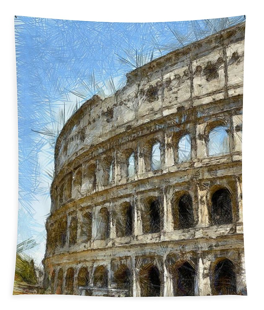 Colored Pencil Tapestry featuring the photograph Colosseum Or Coliseum Pencil by Edward Fielding