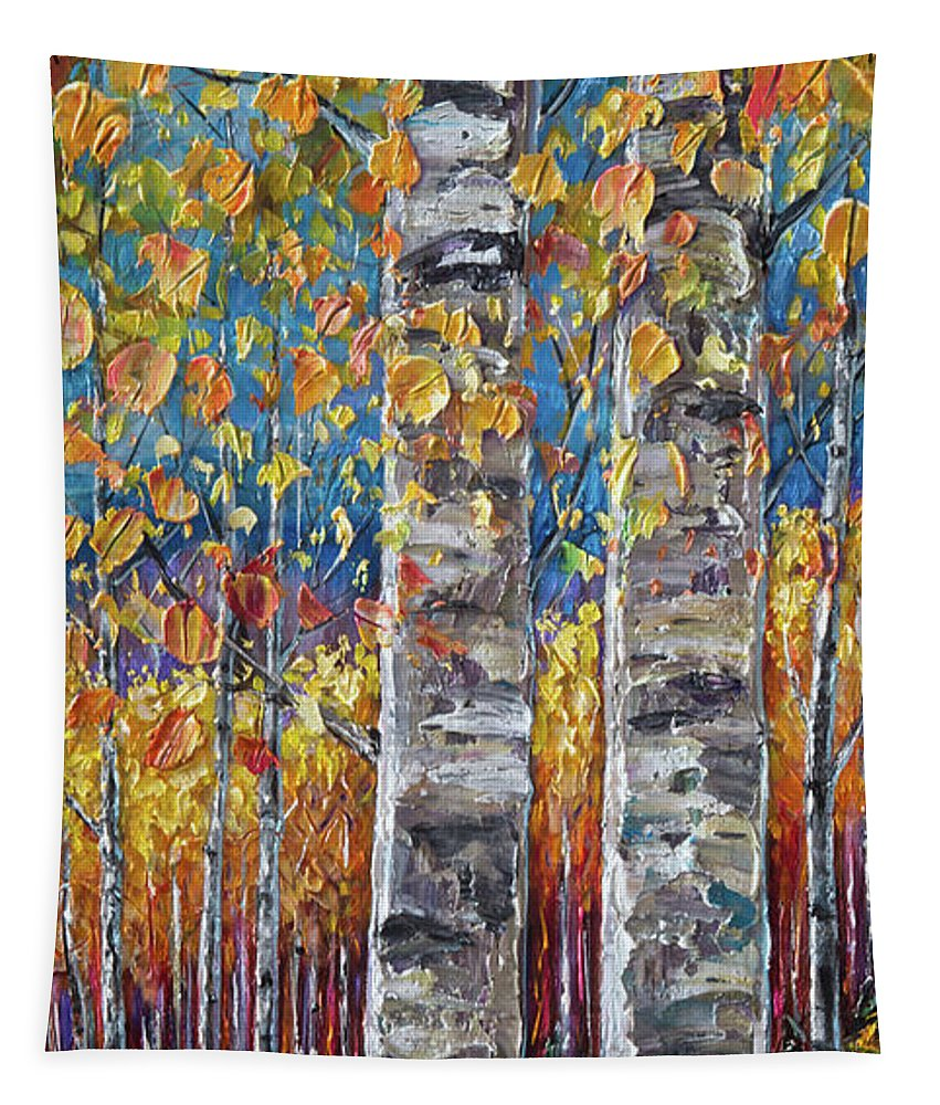 Lena-owens Tapestry featuring the digital art Colourful Autumn Aspen Trees By Lena Owens @olena Art by OLena Art Brand