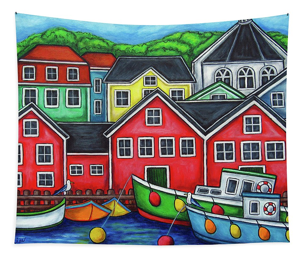 Nova Scotia Tapestry featuring the painting Colours of Lunenburg by Lisa Lorenz