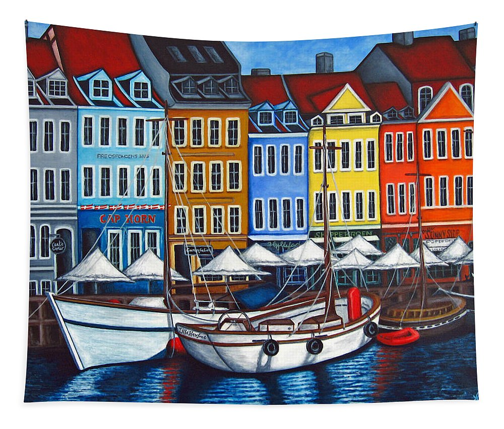 Nyhavn Tapestry featuring the painting Colours of Nyhavn by Lisa Lorenz