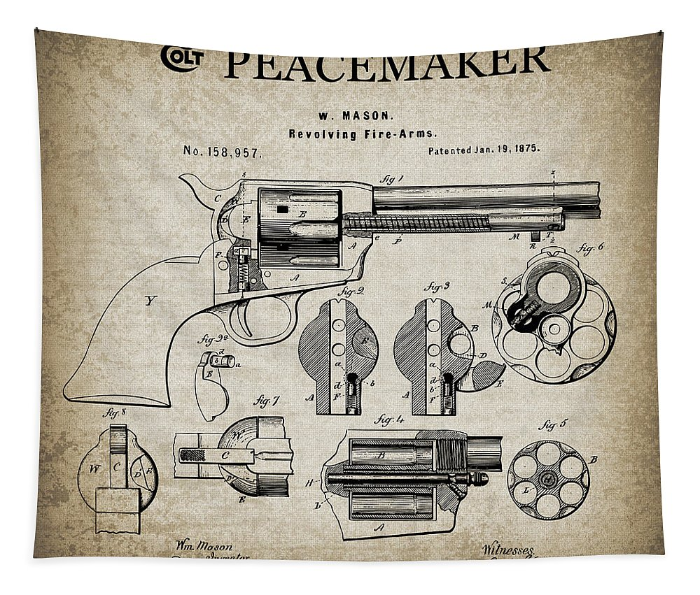 Colt Tapestry featuring the digital art Colt .45 Peacemaker Revolver Patent 1875 by Daniel Hagerman