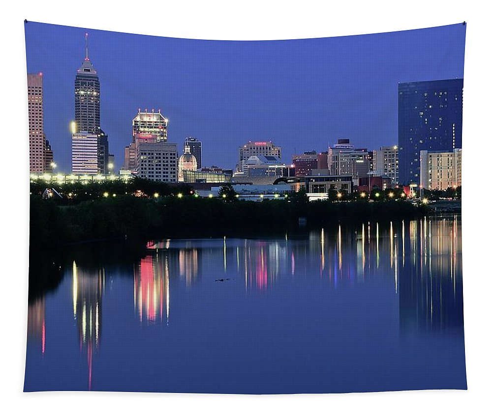 Indianapolis Tapestry featuring the photograph Colts Blue Hour Night by Frozen in Time Fine Art Photography