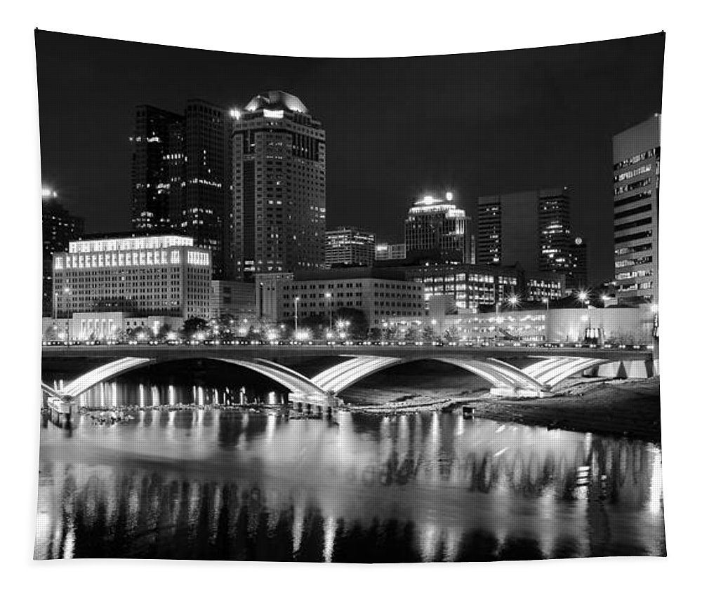 Columbus Tapestry featuring the photograph Columbus Black Night by Frozen in Time Fine Art Photography