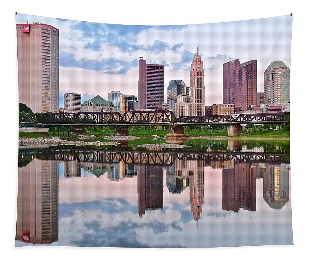 Columbus Tapestry featuring the photograph Columbus Ohio Reflects by Frozen in Time Fine Art Photography