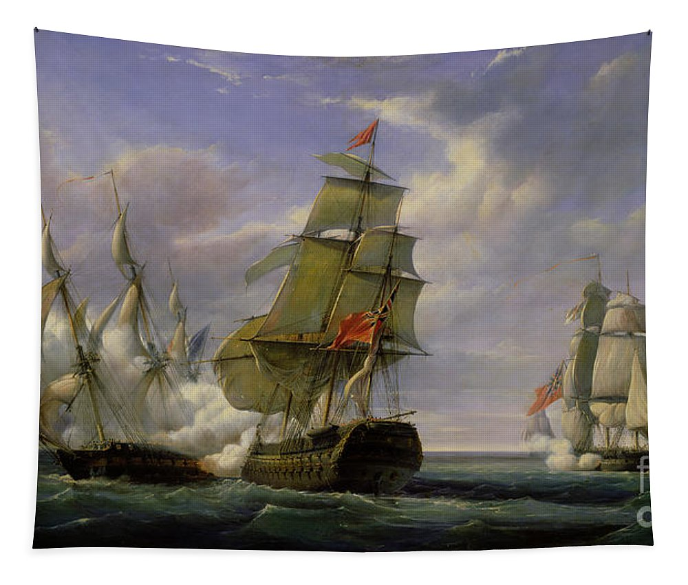 Combat Tapestry featuring the painting Combat between the French Frigate La Canonniere and the English Vessel The Tremendous by Pierre Julien Gilbert