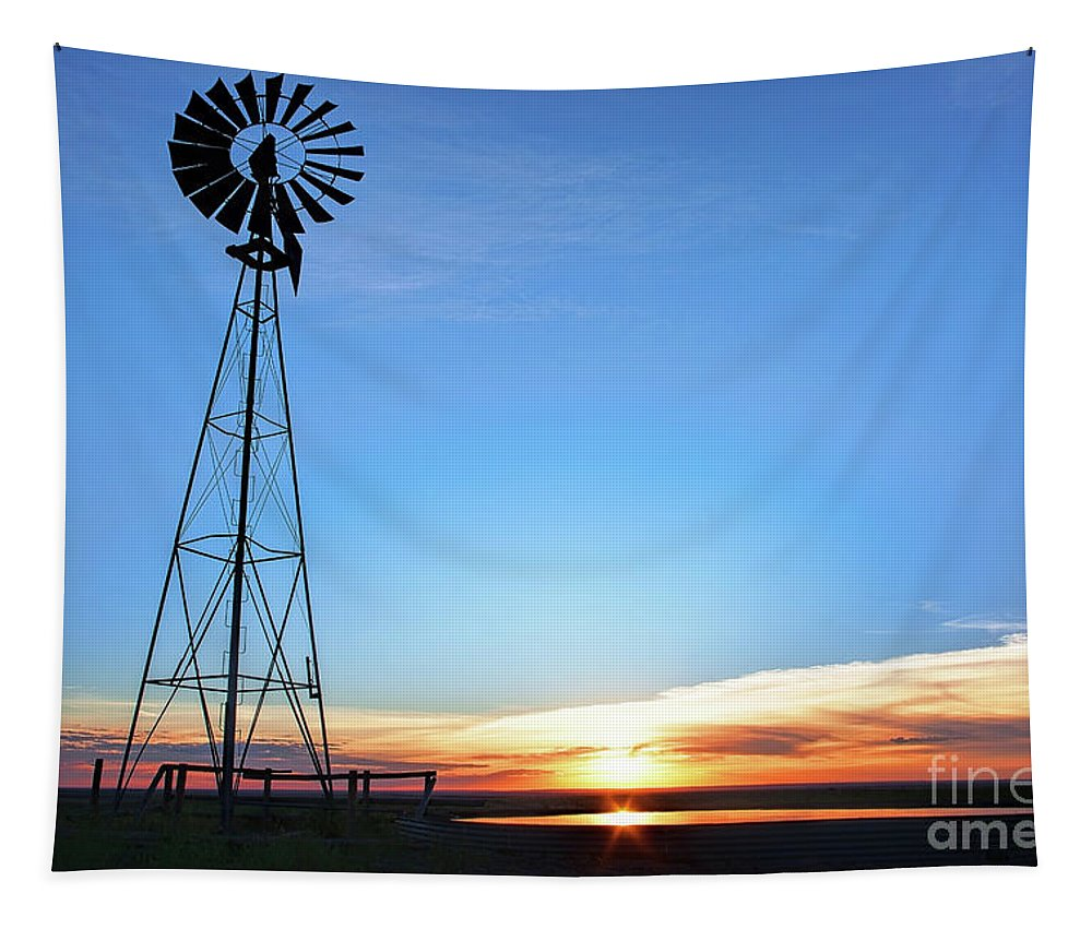 Windmill Landscape Tapestry featuring the photograph Come To The Water by Jim Garrison