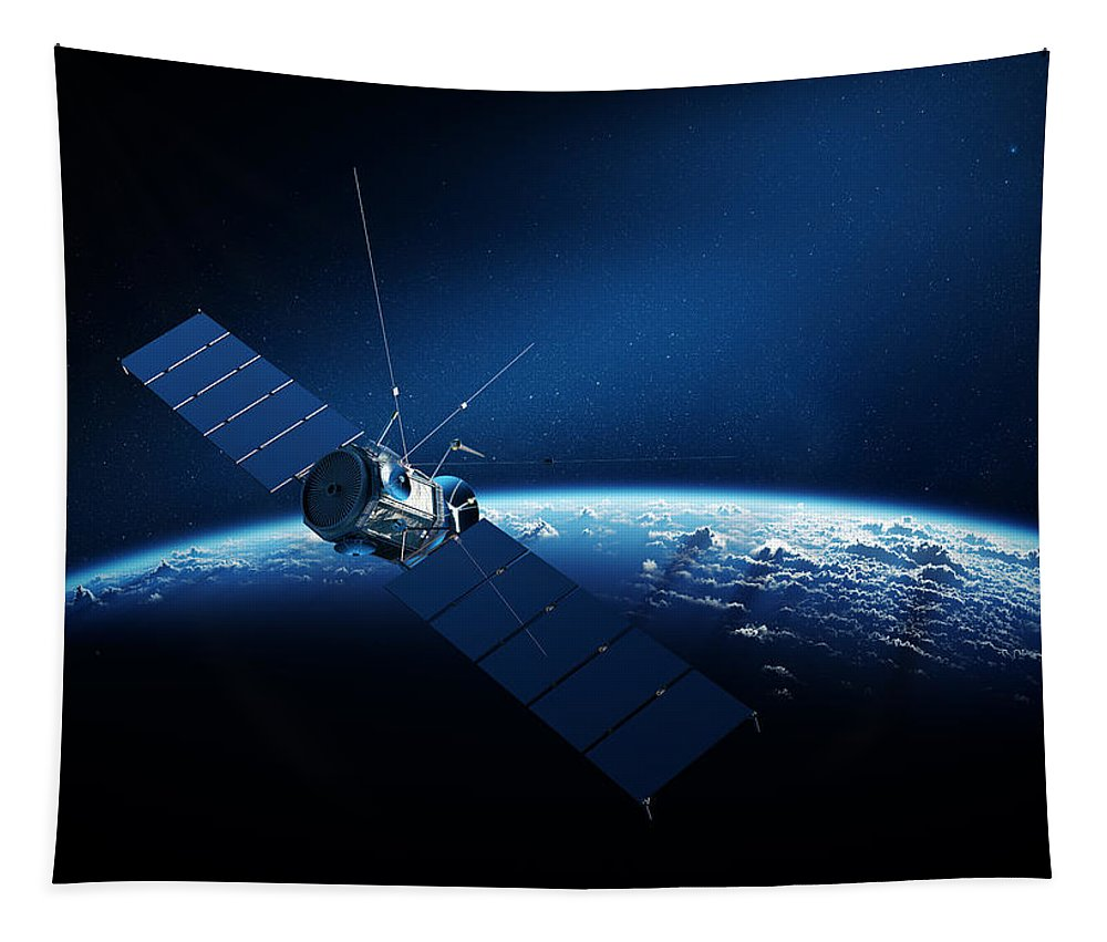 Satellite Tapestry featuring the digital art Communications satellite orbiting earth by Johan Swanepoel