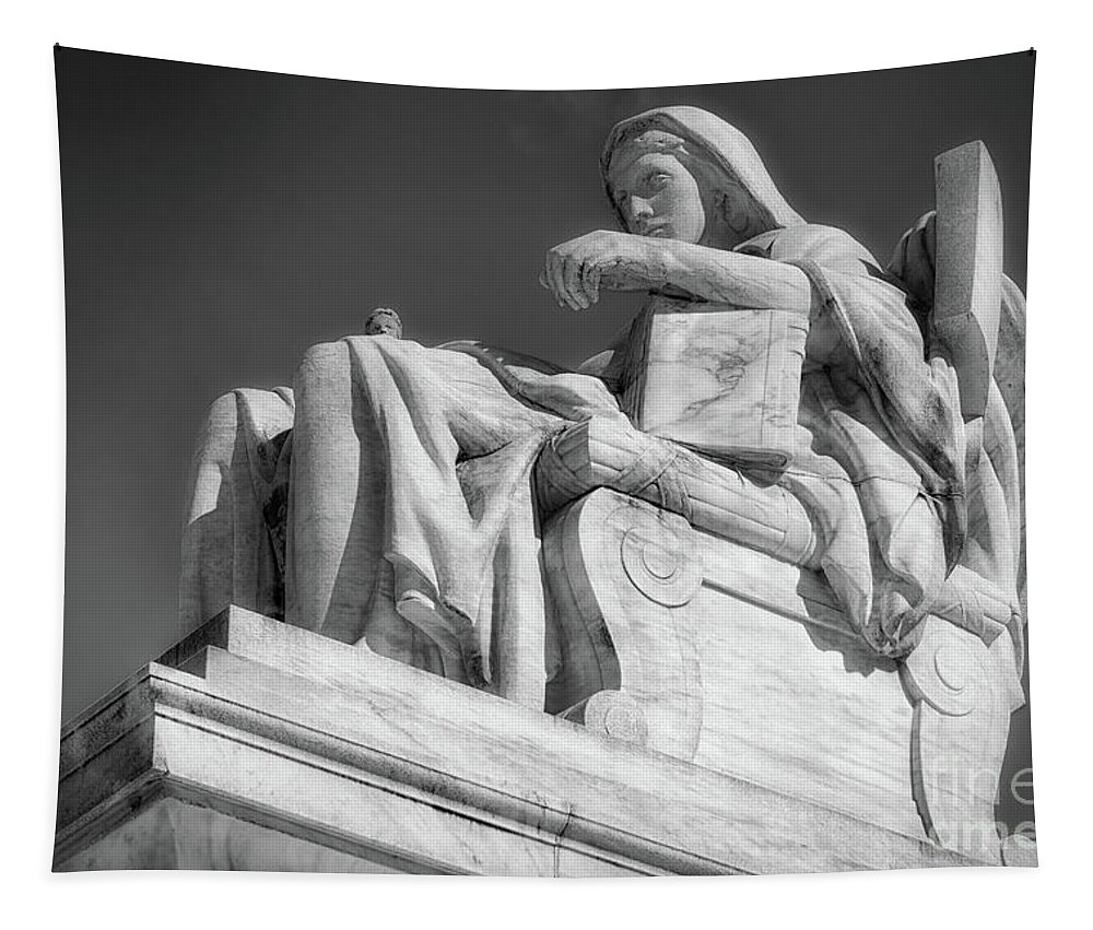 B+w Tapestry featuring the photograph Comtemplation Of Justice 1 Bw by Jerry Fornarotto