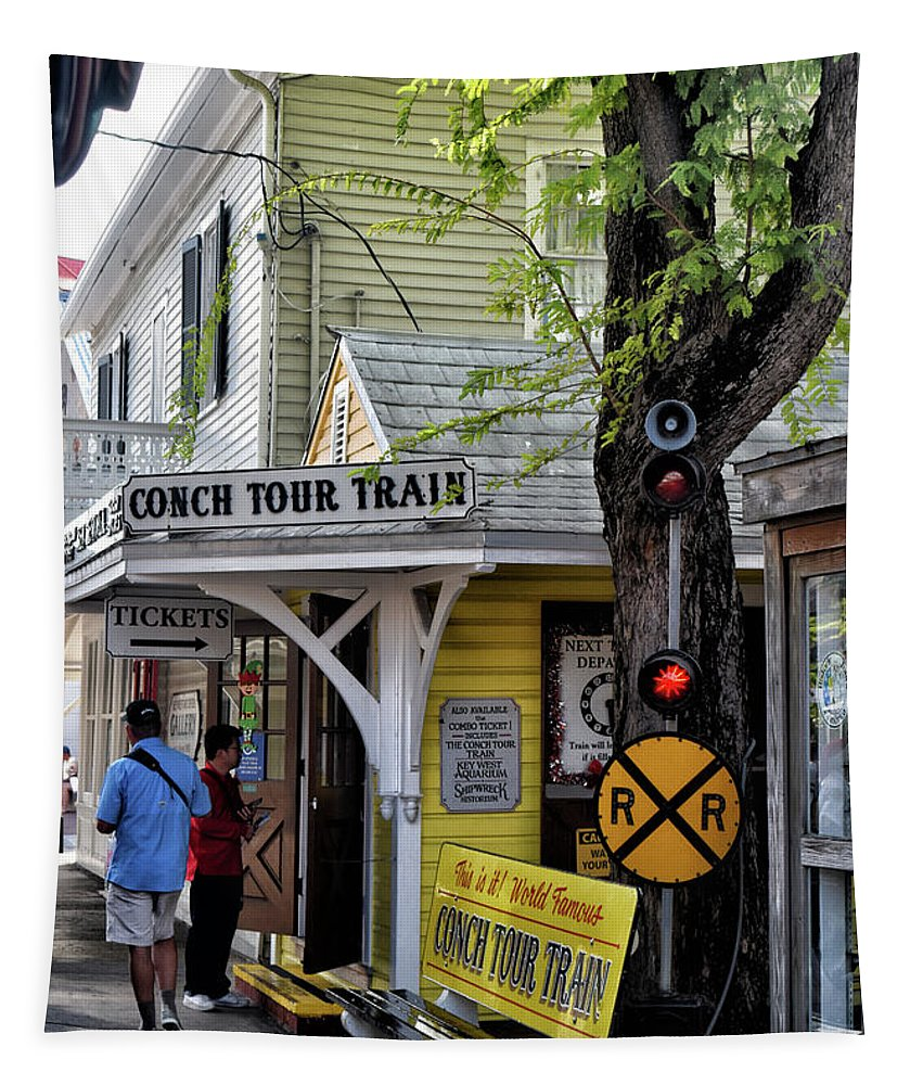 Conch Tour Train Stop Tapestry featuring the photograph Conch Tour Train Stop by Maria Keady