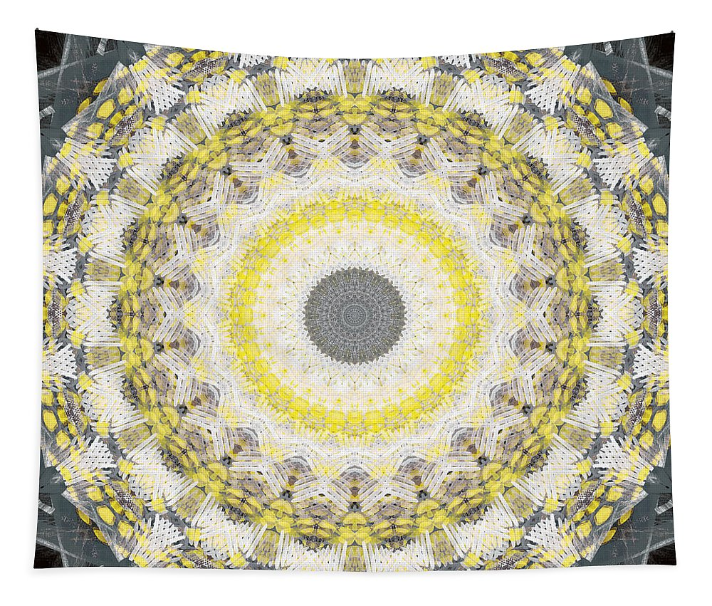 Concrete Tapestry featuring the painting Concrete And Yellow Mandala- Abstract Art By Linda Woods by Linda Woods