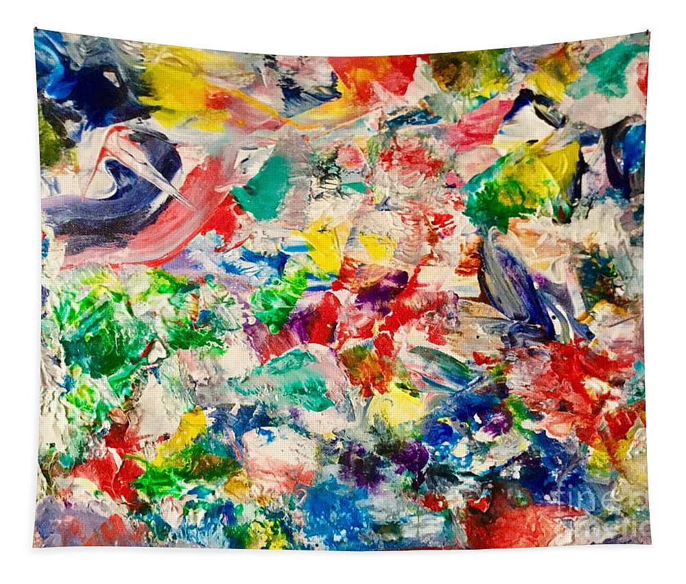 Abstract Tapestry featuring the painting Concussion by Elle Justine