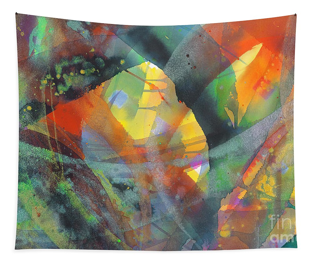 Abstract Tapestry featuring the painting Connections by Lucy Arnold