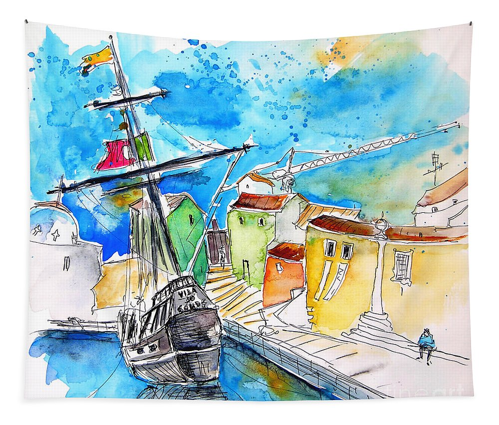 Portugal Tapestry featuring the painting Conquistador Boat In Portugal by Miki De Goodaboom