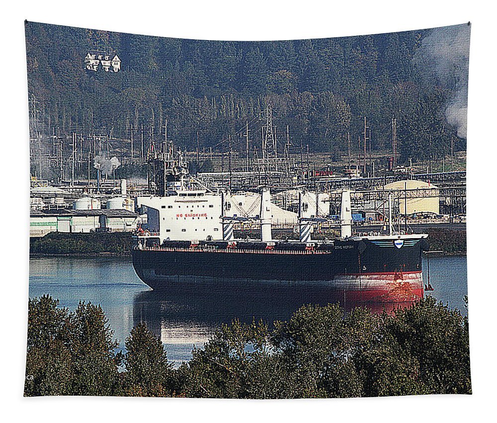 Container Ship Ready To Load More Lumber Tapestry featuring the photograph Container Ship Ready To Load More Lumber by Tom Janca