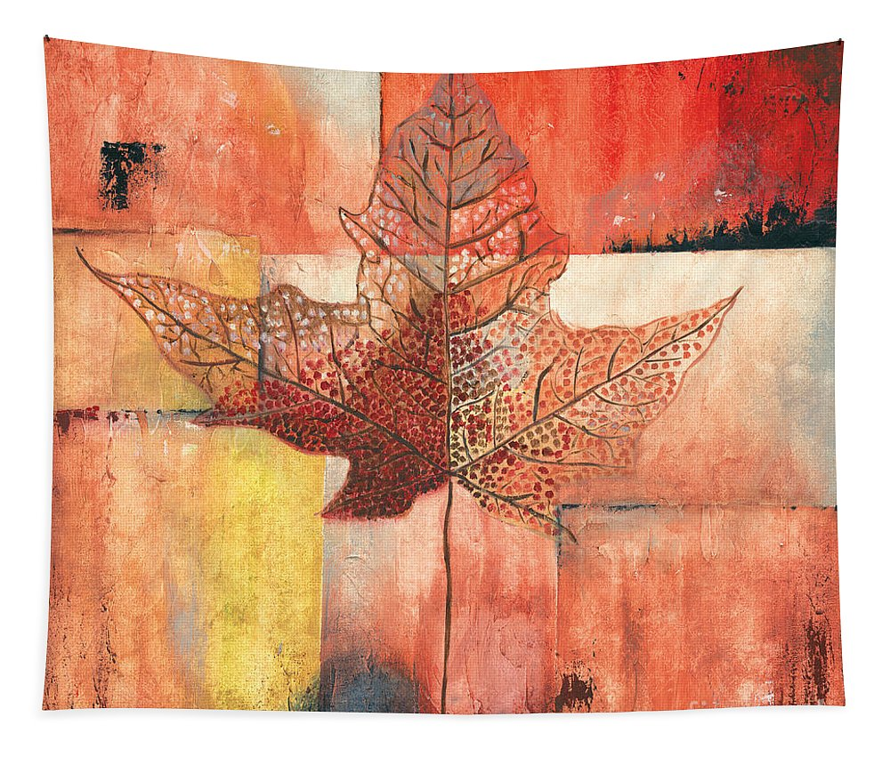 Contemporary Tapestry featuring the painting Contemporary Leaf 2 by Debbie DeWitt